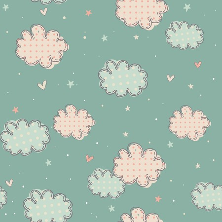 Cute clouds, hearts and stars in seamless pattern for children, vector illustration
