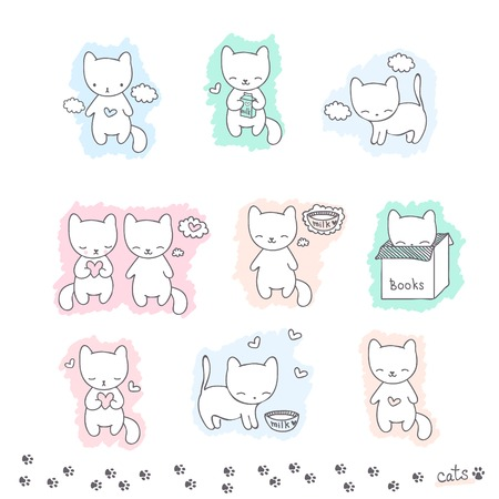 Set of hand drawn sketch with cats and footprint on a white background, vector Illustration for design Vector