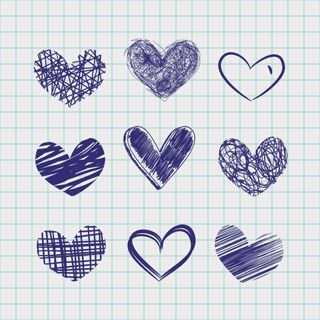 Set of hand draw hearts and seamless paper background  Pen drawn effect  Vector elements for design