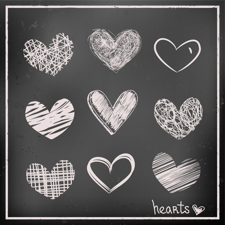 Set of hand drawn hearts on chalkboard background  Sketch vector icons for design Illustration