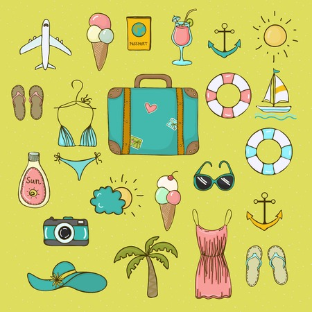 bikini cartoon: Set of bright icons vector objects on summer vacation to hand draw style Illustration