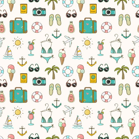 child food: Vector hand drawn travel on vacation summer seamless pattern Illustration