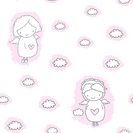 Seamless pattern with hand drawn sketch angels and hearts, and cloud on a white background