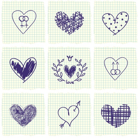 Set of hand drawn hearts and seamless paper background   Illustration