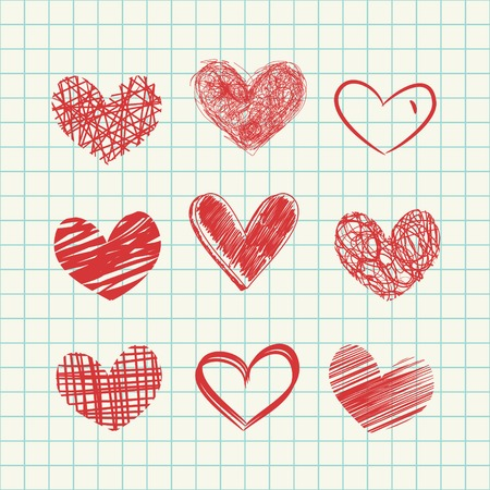 Set of hand drawn hearts and seamless paper background