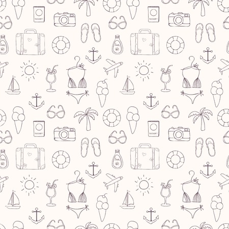 hand drawn travel on vacation summer seamless pattern in sketch style on white background Vector