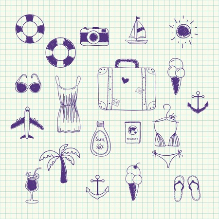 beach cartoon: Set of elements for design on summer vacation