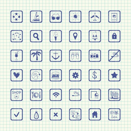 set of hand drawn on paper icons on a theme  Vector