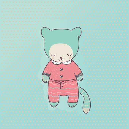 Cute pet cat dressed in pink pajamas