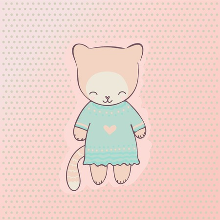 Cute cat dressed in a blue dress  Vector hand drawn character for use in the design of cards, games, web pages and more