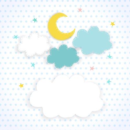 luna caricatura: Luna, las nubes y las estrellas en el fondo de la tela con los lunares Ni�os dulce de vectores de fondo del cielo nocturno con el lugar de texto