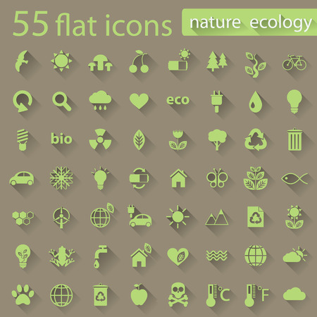 Set of nature ecology green icons with long shadow  Vector icons in flat design for web and mobile app