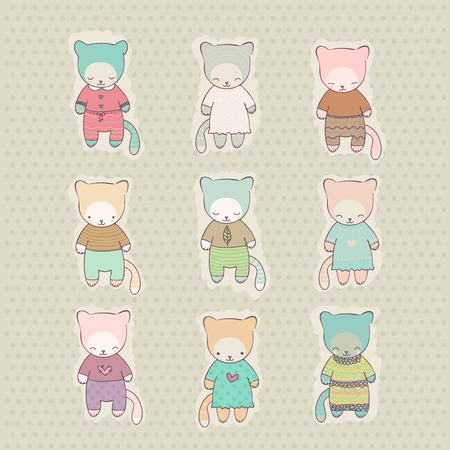arcade games: Set of cute kittens dressed in dresses and costumes  Vector illustration  Hand drawn characters for use in design postcards, web pages, arcade games and more