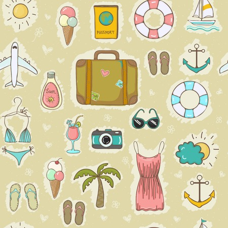 Vector hand drawn travel on vacation summer seamless pattern Vector