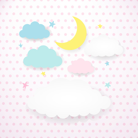 Moon, clouds and stars on the background fabric with polka dots.
