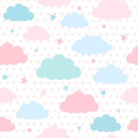 青とピンクの雲と水玉の背景に夜空の星と子供のシームレスなパターン