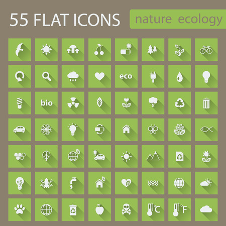 Set of nature ecology green icons with long shadow.