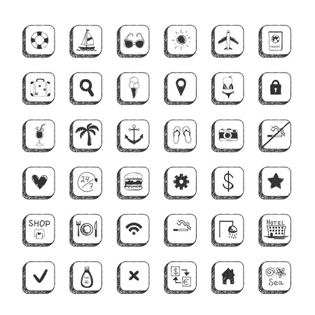 set of freehand drawn icons on a theme of travel and summer vacation for web or mobile Vector