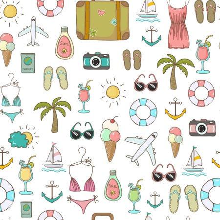 bikini cartoon: freehand drawn travel on vacation summer seamless background