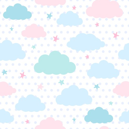 Children vector seamless pattern with blue and pink clouds and stars in sky on a polka dots background