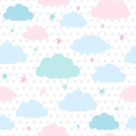 Kinderen vector naadloze patroon met blauwe en roze wolken en de sterren in de hemel op een stippen achtergrond Stock Illustratie