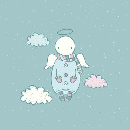 Childish Christmas illustration in vector. Cute cartoon angel in the sky. Stylish holiday background Vector
