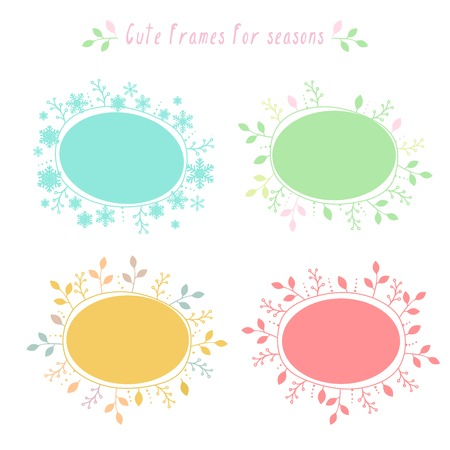 Vector hand-drawn doodle colored floral and snowflakes frames with all seasons Vector