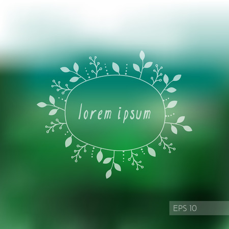 Blurry green background with doodle hand-drawn floral frame in vector. Eco design template for card, banner, invitation and web Vector