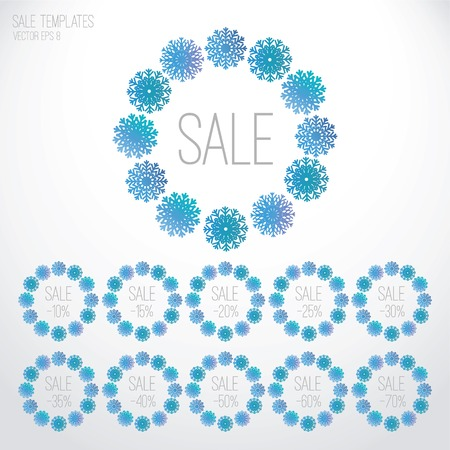 Set of winter sale banners, templates, tags with ornament of snowflakes for Christmas. Vector illustration