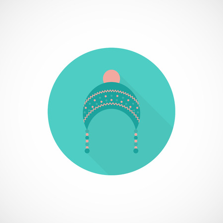 cold weather: Clothes and fashion flat icon with long shadow. Cute hat for cold weather