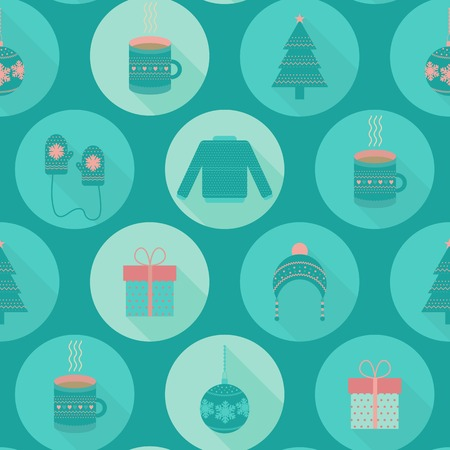 Christmas and New Year seamless pattern in flat style. Vector holiday background with christmas tree toys, gifts, hat, sweater, cup of tea and mittens Vector