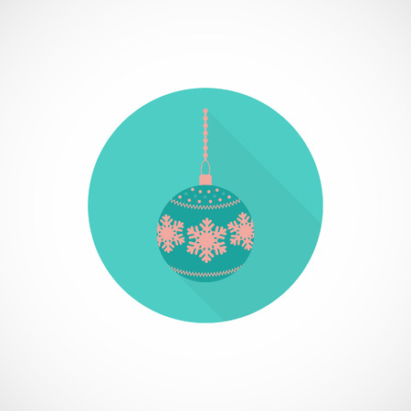 Christmas toy flat icon with long shadow effect for web and mobile apps