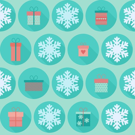 Christmas and New Year vector seamless pattern in flat design with icons gift boxes and snowflakes Vector