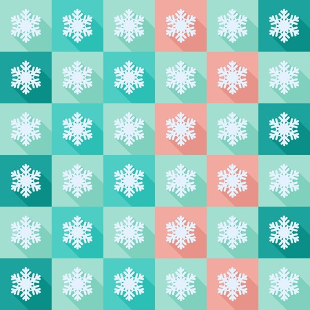 Seamless background with snowflakes flat icons with long shadow