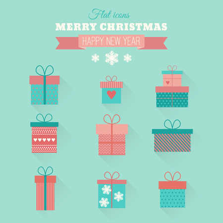 Set of vector icons of gift boxes in flat style Vector