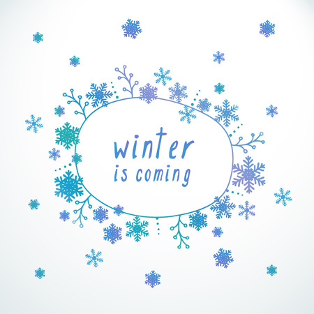 Vector cute doodle banner, frame, border. Abstract winter background with snowflakes and frame for text