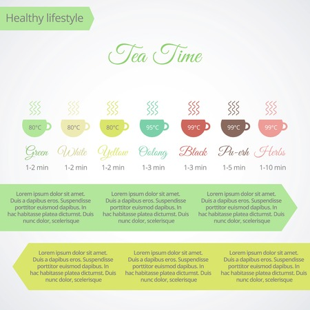 oolong: Tea time infographics with place for text and icons of cups in flat style