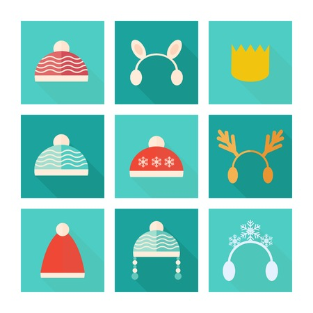 christmas hat: Carnival and knitted hats set of vector icons in flat style Illustration