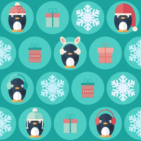 Childish Christmas and New Year vector seamless pattern in flat design with cute penguins, gift boxes and snowflakes Vector