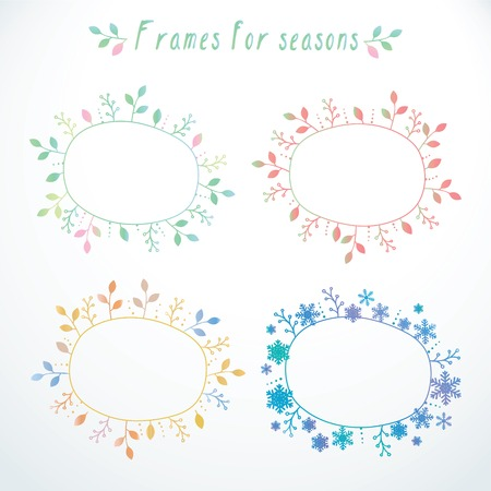 Cute hand-drawn doodle floral and snowflakes frames with all seasons in vector Vector