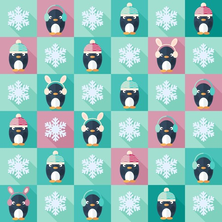 Childish vector seamless pattern in flat design with penguins and snowflakes Vector