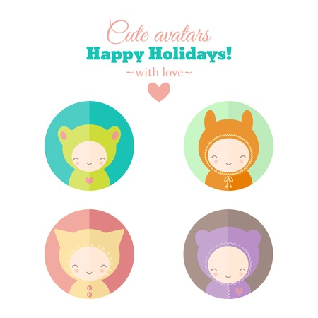 Set of cute holiday carnival avatars. Vector icons. Childish characters for web and mobile app design Illustration