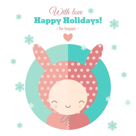 Greeting card with funny child for holidays. Flat vector illustration Illustration