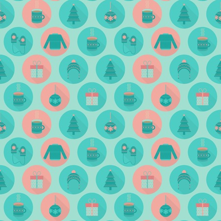 Christmas and New Year seamless pattern in flat style. Vector holiday background with christmas tree toys, gifts, hat, sweater, cup of tea and mittens Illustration