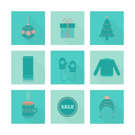 Christmas icons vector set in flat style with long shadow. Clothing, gift, Christmas tree, cup, toy Illustration