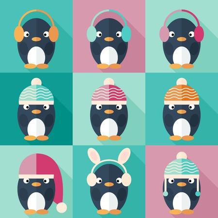 Penguins icons set in flat design. Penguin in Santa Claus hat. Vector Illustration