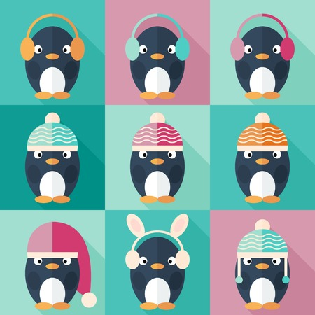 pinguino caricatura: Ping�inos iconos conjunto en dise�o plano. Ping�ino en el sombrero de Pap� Noel. Ilustraci�n vectorial