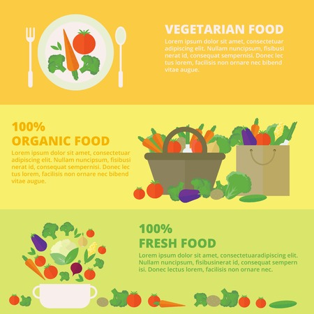 Horizontal banners with fresh vegetables and fruits. Vector illustration in flat style. Concept healthy food