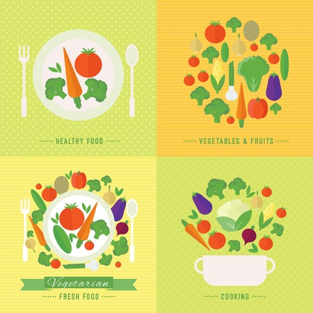 Banners with fresh vegetables and fruits. Vector illustration in flat style. Concept healthy food