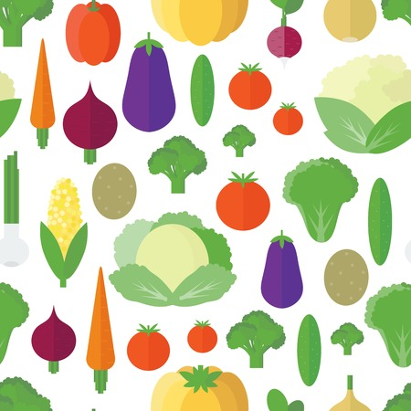 Seamless pattern with vegetables and fruits on a white background. Vector background